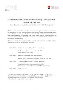 Mathematical Communication during the Cold War