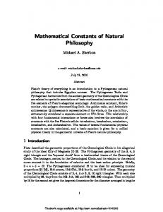 Mathematical Constants of Natural Philosophy