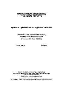 MATHEMATICAL ENGINEERING TECHNICAL REPORTS ... - CiteSeerX