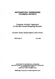 MATHEMATICAL ENGINEERING TECHNICAL REPORTS Complex ...