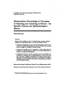 Mathematical Knowledge in Processes of Teaching and Learning at ...