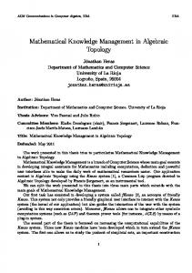 Mathematical Knowledge Management in Algebraic Topology