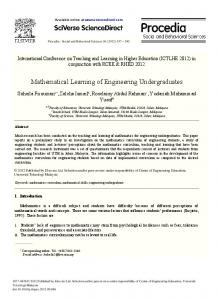 Mathematical Learning of Engineering Undergraduates - CyberLeninka