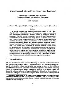 Mathematical Methods for Supervised Learning - Semantic Scholar
