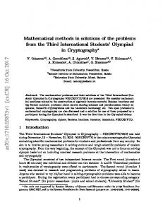 Mathematical methods in solutions of the problems from the Third