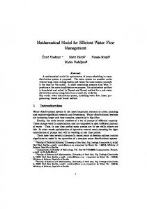 Mathematical Model for Efficient Water Flow Management