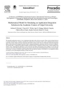 Mathematical Model for Simulating an Application ... - ScienceDirect