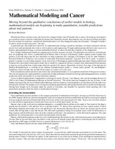 Mathematical Modeling and Cancer - Semantic Scholar