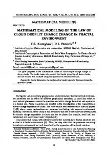 MATHEMATICAL MODELING MATHEMATICAL MODELING OF THE