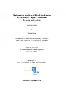 Mathematical Modeling of Blood-Gas Kinetics for the Volatile Organic ...