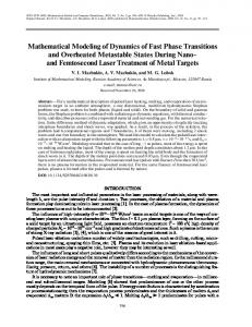 Mathematical Modeling of Dynamics of Fast Phase ... - Springer Link