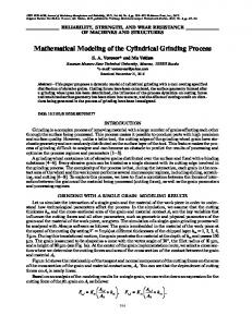Mathematical Modeling of the Cylindrical Grinding ... - Springer Link