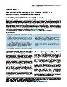 Mathematical modeling of the effects of CK2. 3 on mineralization in ...