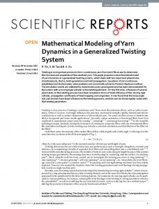 Mathematical Modeling of Yarn Dynamics in a
