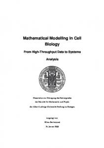 Mathematical Modelling in Cell Biology
