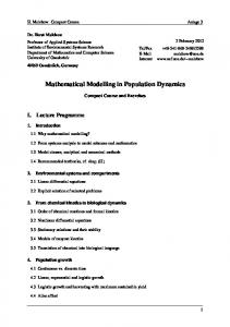 Mathematical Modelling in Population Dynamics