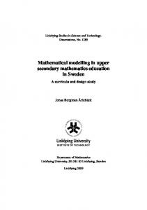 Mathematical modelling in upper secondary mathematics education ...