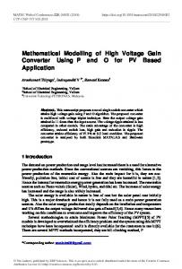 Mathematical Modelling of High Voltage Gain Converter Using P and