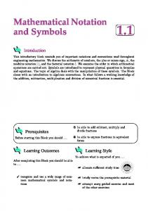 Mathematical Notation and Symbols 1.1