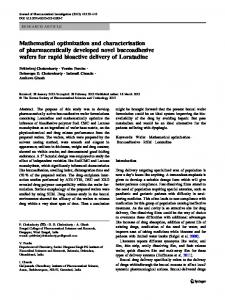 Mathematical optimization and characterisation of ... - Springer Link