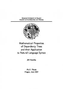 Mathematical Properties of Dependency Trees and their Application to ...
