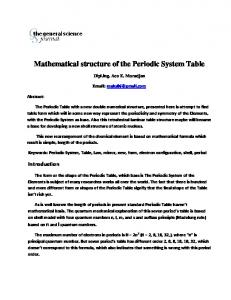 Mathematical structure of the Periodic System Table