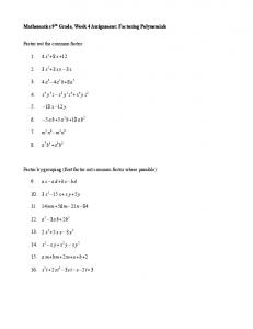 Mathematics 9th Grade, Week 4 Assignment: Factoring Polynomials ...