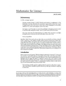 Mathematics for Literacy - Mathematical Association of America