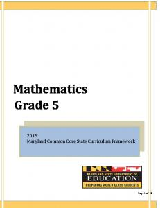 Mathematics Grade 5 - Maryland