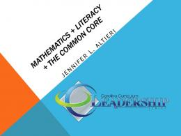 Mathematics + Literacy + The Common Core - Carolina Curriculum