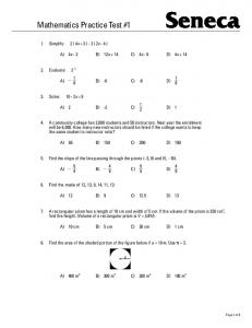 Mathematics Practice Test #1