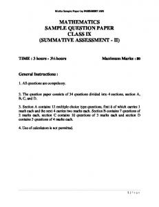 MATHEMATICS SAMPLE QUESTION PAPER CLASS IX ... - CBSE