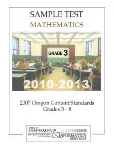 Mathematics Sample Test Grade 3 2010-2013