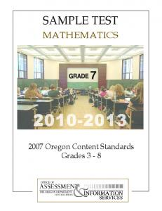 Mathematics Sample Test Grade 7 2010-2013