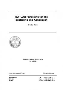 MATLAB Functions for Mie Scattering and Absorption