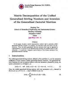 Matrix Decomposition of the Unified Generalized Stirling Numbers and