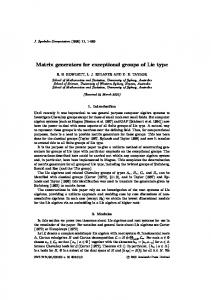Matrix generators for exceptional groups of Lie type - School of ...