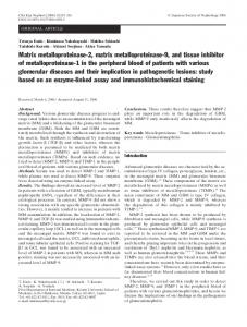 Matrix metalloproteinase-2, matrix metalloproteinase-9 ... - Springer Link