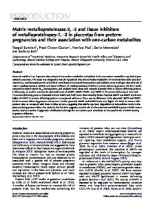 Matrix metalloproteinases-2,-3 and tissue inhibitors of ...