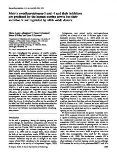 Matrix metalloproteinases-2 and -9 and their inhibitors are produced ...