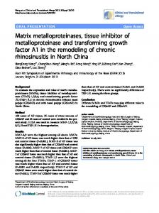 Matrix metalloproteinases, tissue inhibitor of ...