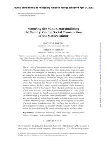 Maturing the Minor, Marginalizing the Family: On the Social ...