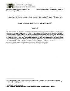 Maturity and Performance in Information Technology Project ... - SciELO
