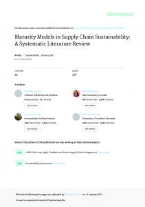 Maturity Models in Supply Chain Sustainability: A