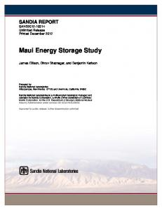 Maui Energy Storage Study - Sandia National Laboratories