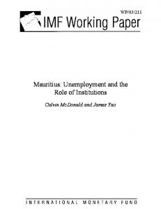 Mauritius: Unemployment and the Role of Institutions - CiteSeerX