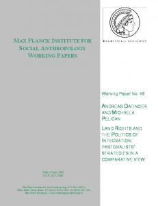 max planck institute for social anthropology working papers