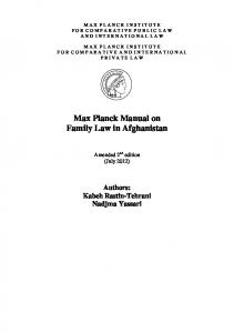 Max Planck Manual on Afghan Family Law - Max-Planck-Institut für ...