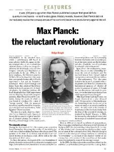 Max Planck: the reluctant revolutionary