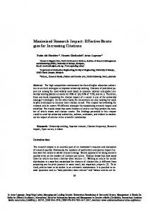 Maximized Research Impact: Effective Strate- gies for